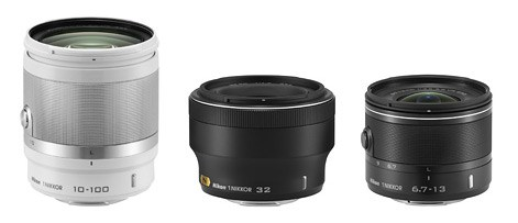 Nikon 1 Nikkor 10-100mm f/4-5.6, 32mm f/1.2, and 6.7-13mm f/3.5-5.6